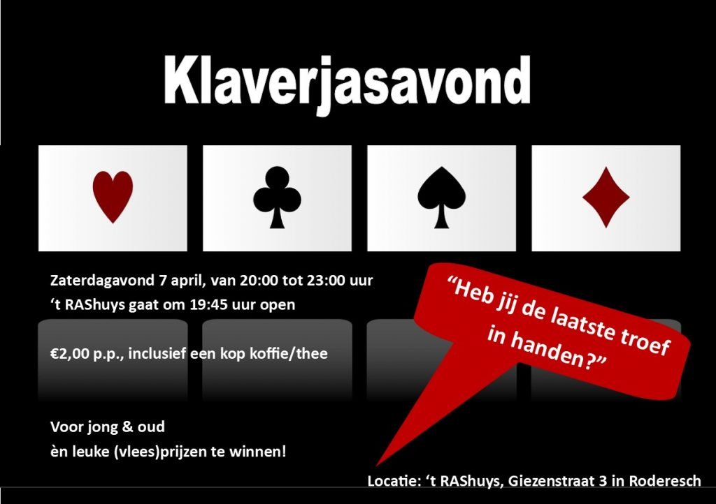 Klaverjasavond 7 april '18